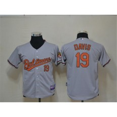 MLB Baltimore Orioles 19 Chris Davis Grey Cool Base Youth Jersey