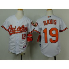 MLB Baltimore Orioles 19 Chris Davis White Cool Base Stitched Baseball Youth Jersey