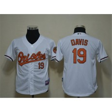 MLB Baltimore Orioles 19 Chris Davis White Cool Base Youth Jersey