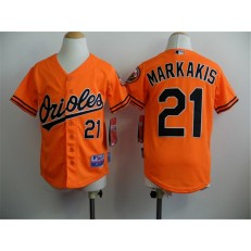 MLB Baltimore Orioles 21 Nick Markakis Orange Cool Base Stitched Baseball Youth Jersey