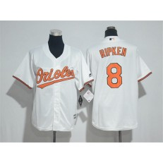 MLB Baltimore Orioles 8 Cal Ripken White Cool Base Stitched Youth Jersey