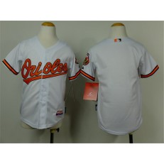 MLB Baltimore Orioles Blank White Cool Base Stitched Baseball Youth Jersey
