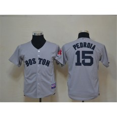 MLB Boston Red Sox 15 Dustin Pedroia Grey Cool Base Youth Jersey