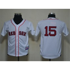 MLB Boston Red Sox 15 Dustin Pedroia White Cool Base Youth Jersey
