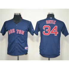 MLB Boston Red Sox 34 David Ortiz Dark Blue Cool Base Youth Jersey