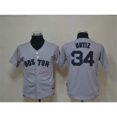 MLB Boston Red Sox 34 David Ortiz Grey Cool Base Youth Jersey