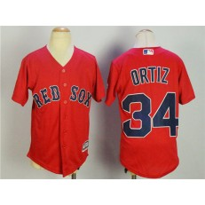 MLB Boston Red Sox 34 David Ortiz Name Red Stitched Majestic Cool Base Youth Jersey