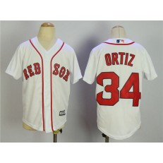 MLB Boston Red Sox 34 David Ortiz Name White Stitched Majestic Cool Base Youth Jersey