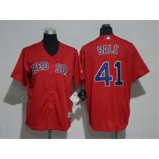 MLB Boston Red Sox 41 Chris Sale Name Red Stitched Majestic Cool Base Youth Jersey