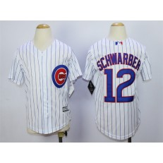 MLB Chicago Cubs 12 Kyle Schwarber Home White 2015 Cool Base Youth Jersey