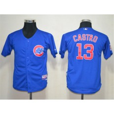 MLB Chicago Cubs 13 Starlin Castro Blue Cool Base Youth Jersey