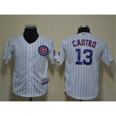 MLB Chicago Cubs 13 Starlin Castro White Cool Base Youth Jersey