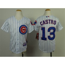 MLB Chicago Cubs 13 Starlin Castro White With Blue Strip Youth Jersey