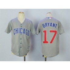 MLB Chicago Cubs 17 Kris Bryant Grey Cool Base Youth Jersey
