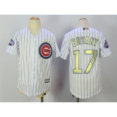 MLB Chicago Cubs 17 Kris Bryant White(Blue Strip) Gold Program Cool Base Stitched Youth Jersey
