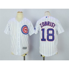 MLB Chicago Cubs 18 Ben Zobrist Home White 2015 Cool Base Youth Jersey