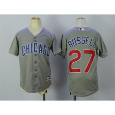 MLB Chicago Cubs 27 Addison Russell Grey Cool Base Youth Jersey