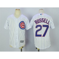 MLB Chicago Cubs 27 Addison Russell Home White 2015 Cool Base Youth Jersey