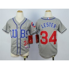 MLB Chicago Cubs 34 Jon Lester 2014 Gray Youth Jersey