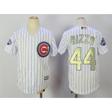 MLB Chicago Cubs 44 Anthony Rizzo White(Blue Strip) Gold Program Cool Base Stitched Youth Jersey