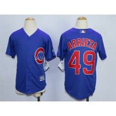 MLB Chicago Cubs 49 Jake Arrieta Alternate Blue 2015 Cool Base Youth Jersey