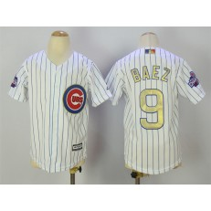 MLB Chicago Cubs 9 Javier Baez White(Blue Strip) Gold Program Cool Base Stitched Youth Jersey