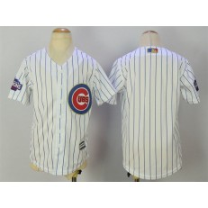 MLB Chicago Cubs Blank White(Blue Strip) Gold Program Cool Base Stitched Youth Jersey