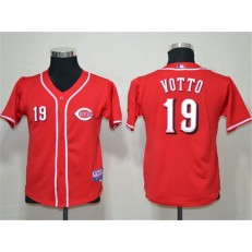 MLB Cincinnati Reds 19 Joey Votto Red Youth Jersey