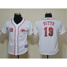 MLB Cincinnati Reds 19 Joey Votto White Cool Base Youth Jersey