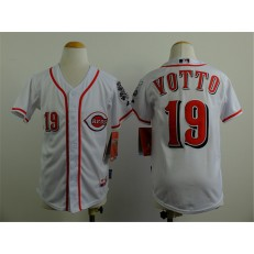 MLB Cincinnati Reds 19 Joey Votto White Youth Jersey