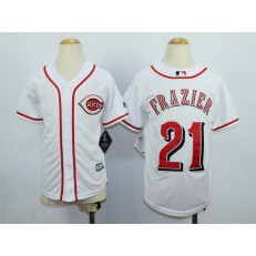MLB Cincinnati Reds 21 Todd Frazier Home White 2015 Cool Base Youth Jersey