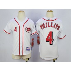 MLB Cincinnati Reds 4 Brandon Phillips White Youth Jersey