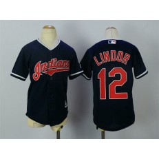 MLB Cleveland Indians 12 Francisco Lindor Navy Blue Alternate Stitched Youth Jersey