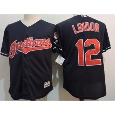 MLB Cleveland Indians 12 Francisco Lindor Navy Blue Home Stitched Majestic Cool Base Youth Jersey