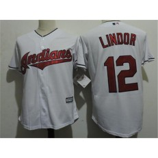 MLB Cleveland Indians 12 Francisco Lindor White Home Stitched Majestic Cool Base Youth Jersey