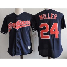 MLB Cleveland Indians 24 Andrew Miller Navy Blue Home Stitched Majestic Cool Base Youth Jersey