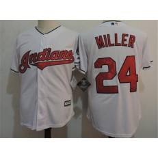 MLB Cleveland Indians 24 Andrew Miller White Home Stitched Majestic Cool Base Youth Jersey