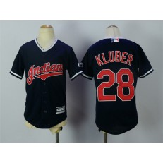 MLB Cleveland Indians 28 Corey Kluber Navy Blue Alternate Stitched Youth Jersey