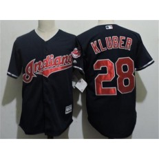 MLB Cleveland Indians 28 Corey Kluber Navy Blue Home Stitched Majestic Cool Base Youth Jersey