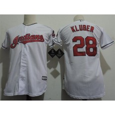 MLB Cleveland Indians 28 Corey Kluber White Home Stitched Majestic Cool Base Youth Jersey