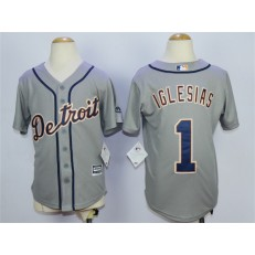 MLB Detroit Tigers 1 Jose Iglesias Grey Cool Base Youth Jersey