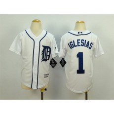MLB Detroit Tigers 1 Jose Iglesias White 2015 Cool Base Stitched Youth Jersey