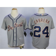 MLB Detroit Tigers 24 Miguel Cabrera Grey Cool Base Youth Jersey