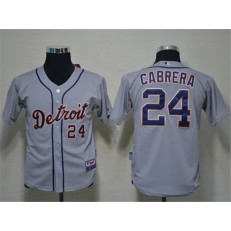 MLB Detroit Tigers 24 Miguel Cabrera Grey Youth Jersey
