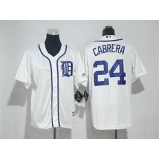 MLB Detroit Tigers 24 Miguel Cabrera White Cool Base Stitched Youth Jersey