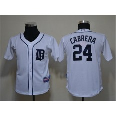 MLB Detroit Tigers 24 Miguel Cabrera White Cool Base Youth Jersey