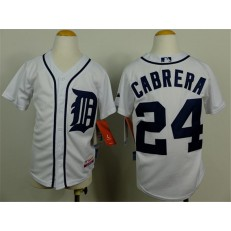 MLB Detroit Tigers 24 Miguel Cabrera White Youth Jersey