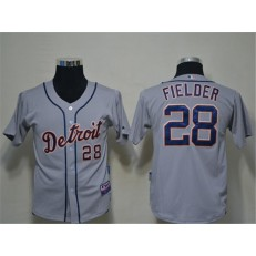MLB Detroit Tigers 28 Prince Fielder Grey Cool Base Youth Jersey