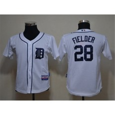 MLB Detroit Tigers 28 Prince Fielder White Cool Base Youth Jersey