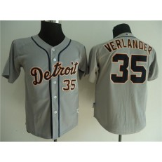 MLB Detroit Tigers 35 Justin Verlander Grey Cool Base Youth Jersey